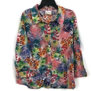 ALFRED DUNNER TROPICAL FLORAL BLOUSE 20W